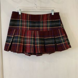 Plaid Wool Pleated Skirt